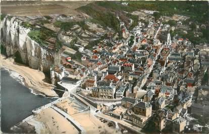 """CPSM FRANCE 76 """"Yport, vue aérienne sur la plage et la ville"""""""