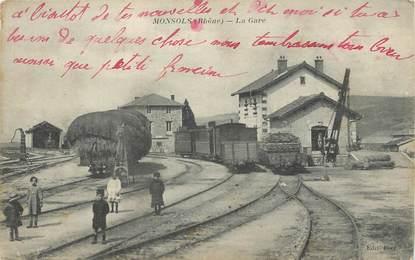 """/ CPA FRANCE 69 """"Monsols, la gare"""""""