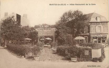 "CPA FRANCE 78 ""Mantes La Jolie, hôtel restaurant de la gare"""