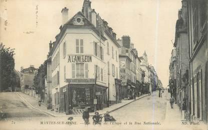 """CPA FRANCE 78 """"Mantes sur Seine, la place de l'étape et la rue nationale"""""""
