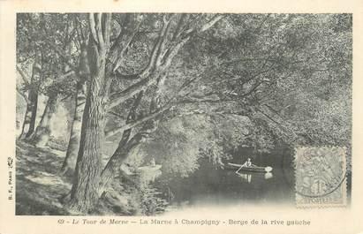 """CPA FRANCE 94 """"Le tour de Marne, la Marne à Champigny, berge de la rive gauche"""""""