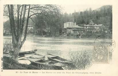 """CPA FRANCE 94 """"Le tour de Marne, la Marne en aval du Pont de Champigny, rive droite"""""""