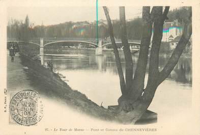 """CPA FRANCE 94 """"Le tour de Marne, pont et coteau de Chennevières"""""""