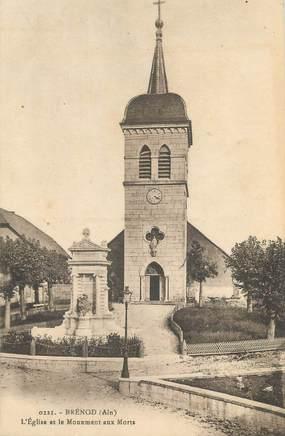 """CPA FRANCE 01 """"Brénod, l'église et le monument aux morts"""""""