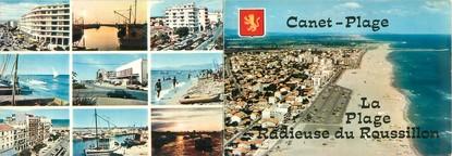 """CPSM LIVRET FRANCE 66 """"Canet Plage, la plage du Roussillon"""""""