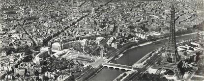 """CPSM PANORAMIQUE FRANCE 75008 """"Paris, la tour Eiffel, la seine, le palais de Chaillot"""""""