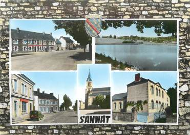 """/ CPSM FRANCE 23 """"Sannat, la place, la poste, l'école, l'étang, la mairie, l'église"""""""