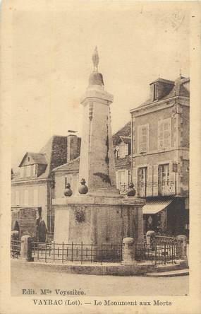 "CPA FRANCE 46 ""Vayrac, le monument aux morts"""