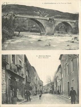 """CPA LIVRET FRANCE 11 """"Alet les Bains, route nationale et le pont sur l'Aude"""""""