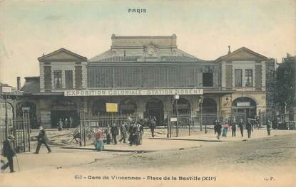 """CPA FRANCE 75012 """"Paris, gare de Vincennes, place de la Bastille"""""""