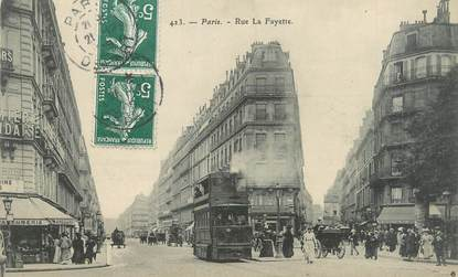 "CPA FRANCE 75009 ""Paris, rue La Fayette"" / BUS"