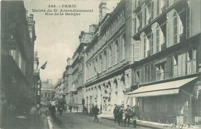 """CPA FRANCE 75002 """"Paris, mairie du 2ème arrondissement, rue de la banque"""""""
