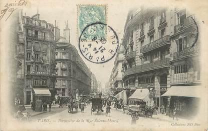"""CPA FRANCE 75002 """"Paris, perspective de la rue Etienne Marcel"""""""