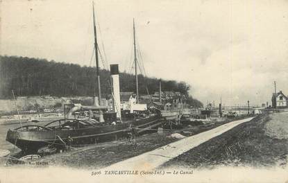 "CPA FRANCE 76 ""Tancarville, le canal"" / PENICHE"