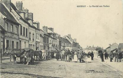 """CPA FRANCE 76 """"Gournay, le marché aux vaches"""""""