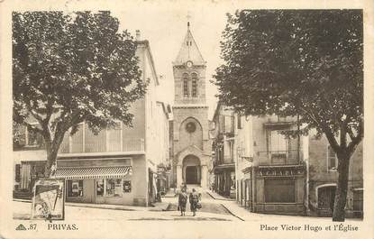 """/ CPA FRANCE 07 """"Privas, place Victor Hugo et l'église"""""""