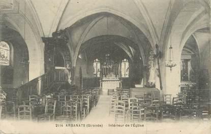 """CPA FRANCE 33 """"Arbanats, intérieur de l'église"""""""