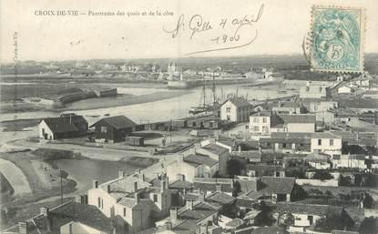 """CPA FRANCE 85 """"Saint Gilles Croix de Vie, panorama des quais et de la côte"""""""