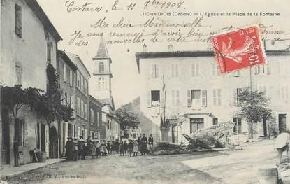 """CPA FRANCE 26 """"Luc en Diois, l'église et la place de la Fontaine"""""""