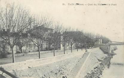 """CPA FRANCE 26 """"Tains, quai du Rhone et le pont"""""""