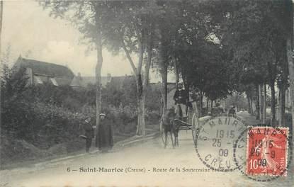 """CPA FRANCE 23 """"Saint Maurice, route de la Souterraine et l'église"""""""