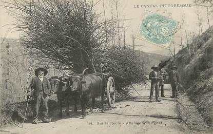 """/ CPA FRANCE 15 """"Sur la route, attelage Auvergnat"""