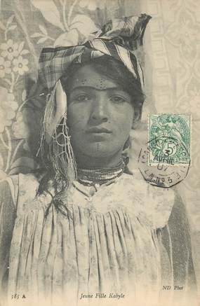 """CPA ALGERIE """"Scènes et types, Jeune fille Kabyle"""""""