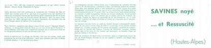 """CPSM LIVRET FRANCE 05 """"Savines noyé et ressucité"""""""