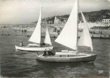 """CPSM FRANCE 14 """"Deauville Trouville, voiliers rentrant dans le bassin"""""""