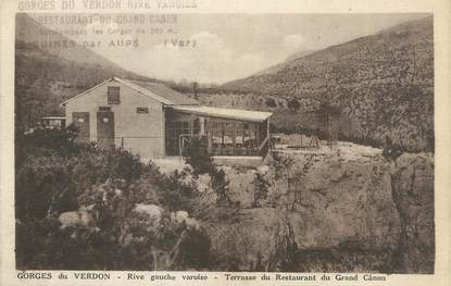 "CPA FRANCE 83 ""Aiguines, terrasse du restaurant du grand Cânon"""