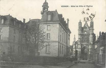 """CPA FRANCE 27 """"Vernon, hôtel de ville et l'église"""""""