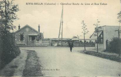 """CPA FRANCE 14 """"Riva Bella, carrefour route de Lion et rue Caban"""""""