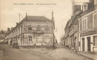 """CPA FRANCE 72 """"Ecommoy, rue Saint Anne et poste"""""""