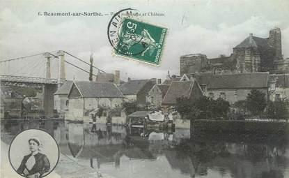 """CPA FRANCE 72 """"Beaumont sur Sarthe, pont suspendu et château"""""""