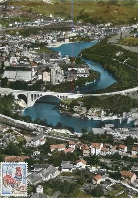 """CPSM FRANCE 01 """"Bellegarde, vue aérienne sur la ville et le pont de Savoie"""""""