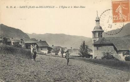 """CPA FRANCE 73 """"Saint Jean de Belleville, l'église et le Mont Blanc"""""""