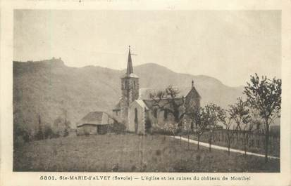"""CPA FRANCE 73 """"Saint Marie d'Alvey, l'église et les ruines du château du Montbel"""""""