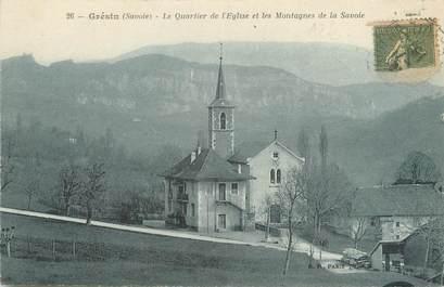 """CPA FRANCE 73 """"Grésin, le quartier de l'église et les montagnes de la Savoie"""""""