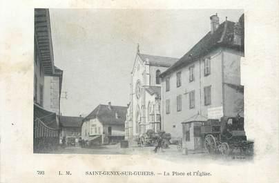 """CPA FRANCE 73 """"Saint Genix sur Guiers, la place et l'église"""""""