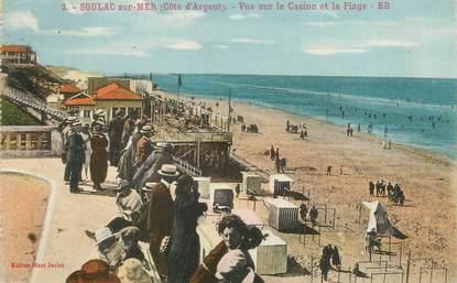 """CPA FRANCE 33 """"Soulac sur Mer, vue sur le casino et la plage"""" / CACHET AMBULANT"""