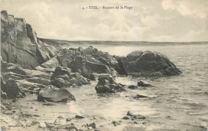 """CPA FRANCE 56 """"Etel, rochers de la plage"""""""