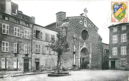 """CPA FRANCE 43 """"Langeac, Place de la Liberté et entrée de l'église collégiale """""""