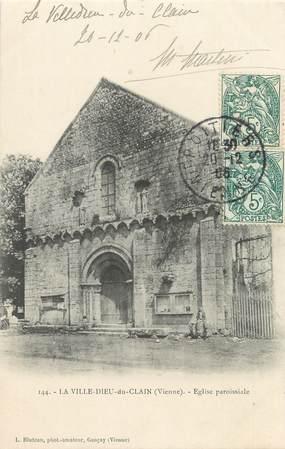"""CPA FRANCE 86 """"Le Ville Dieu du Clain, église paroissiale"""""""