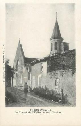 """CPA FRANCE 86 """"Ayron, le chevet de l'église et son clocher"""""""