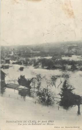 """CPA FRANCE 86 """"Poitiers, inondations du Clain"""" / CACHET MILITAIRE"""