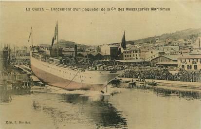 """CPA FRANCE 13 """"La Ciotat, Lancement d'un paquebot de la Compagnie des Messageries Maritimes """""""