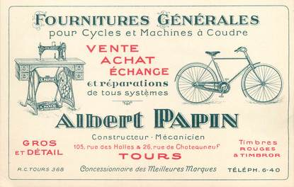 """CPA PUBLICITAIRE FRANCE 37 """"Tours, Albert Papin"""" / FOURNITURES GENERALES"""