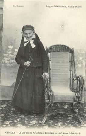 """CPA FRANCE 03 """"Cérilly, la centenaire Mme Chavaillon, dans sa 102ème année"""""""