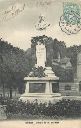 """CPA FRANCE 77 """"Noisiel, statue de Mr Menier"""" / CACHET AMBULANT"""