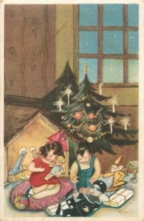 """CPA FANTAISIE / ART DÉCO  """"Enfants et leurs poupées le jour de Noël"""""""